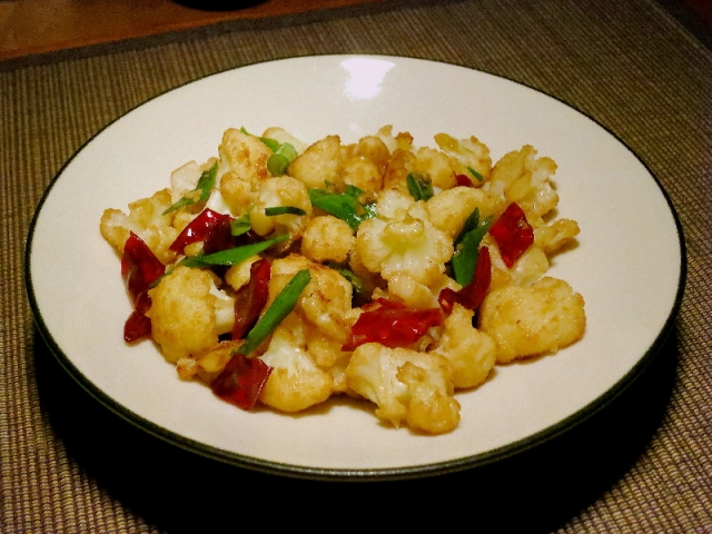 Cauliflower with chiles and onion: TastyAsia version