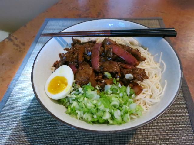 Noodles with beef and Sichuan peppers