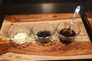 From left to right: garlic, fermented black beans, sauce