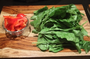 Chopped red pepper and fresh spinach