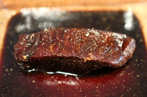 ... and two hours later, after it's taken on the flavor and color of the soy sauce.