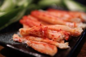Fresh steamed crab legs, shelled