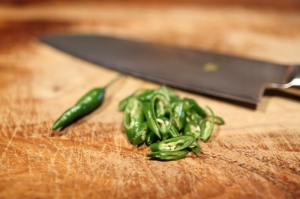 Thai chiles, sliced and seeded