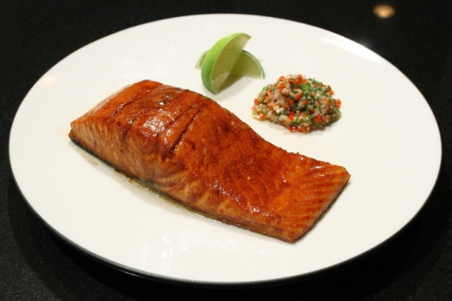 Salmon with hot and sweet relish