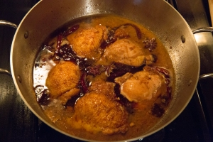 As the chicken cooks, it will become more flavorful and more colorful