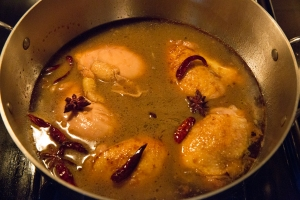 Chicken in the braising liquid
