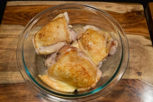 Browned chicken pieces
