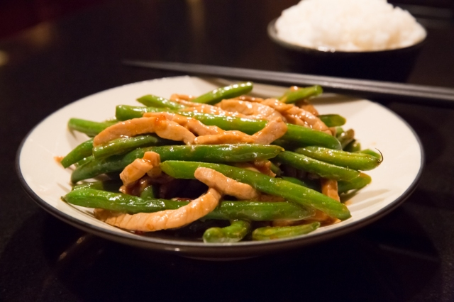Green beans and pork slivers in Sichuanese fish-fragrant (鱼香, yú xiāng) sauce