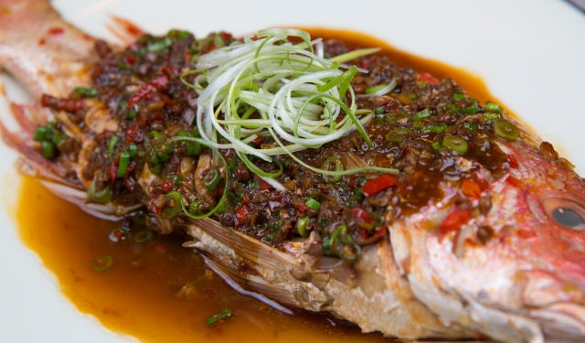 Red-braised snapper with spicy Sichuanese sauce