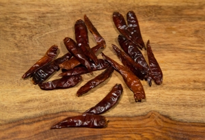 About ten or 15 dried red chile peppers