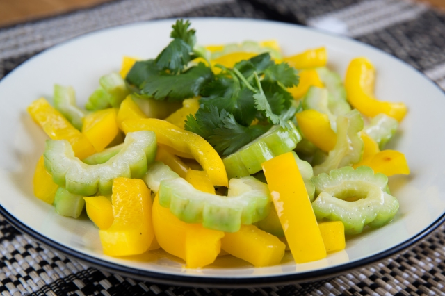 Bitter melon with sweet yellow peppers