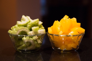 Bitter melon, left, and yellow peppers, right