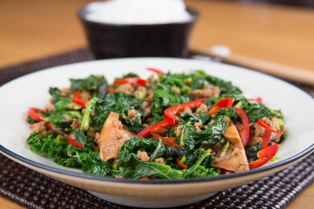 Stir-fried kale with red chiles and shiitake mushrooms